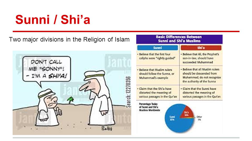 Sunni / Shi'a Two major divisions in the Religion of Islam