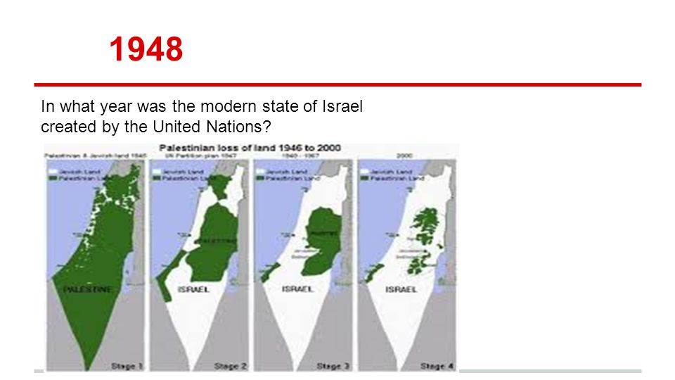 1948 In what year was the modern state of Israel created by the United Nations