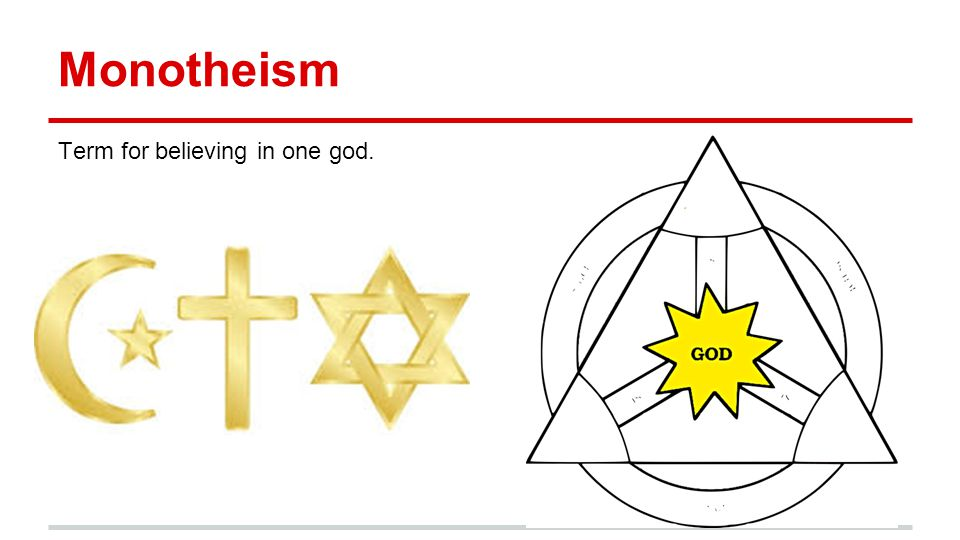 Monotheism Term for believing in one god.