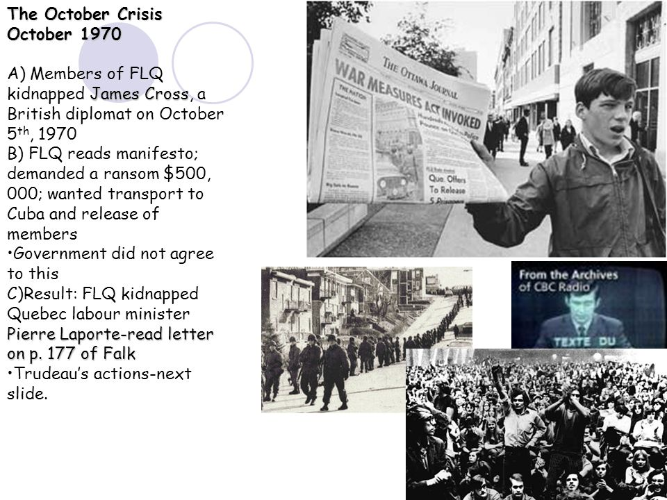 the flq and trudeau View notes - trudeau and the flq crisis from history 2201 at western university trudeau and the flq crisis - - - - social awakening and consciousness stirring through protests youth can play a role.