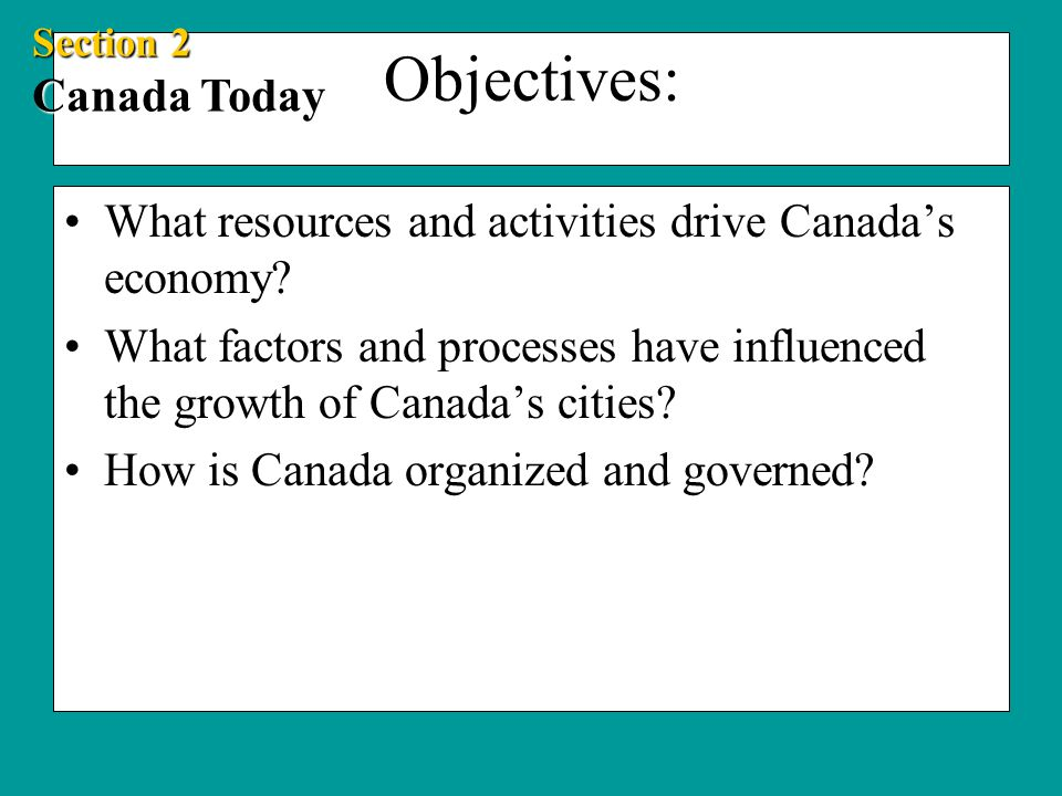 Objectives: What resources and activities drive Canada's economy