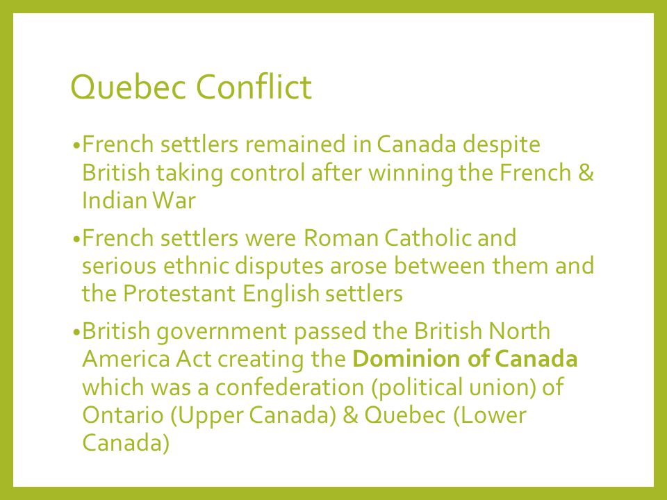 canada and quebecs conflict essay Contact & conflict: the fur trade  quebec and new france in 1608 the french eventually extended their influence and trade alliances from the east coast of canada.
