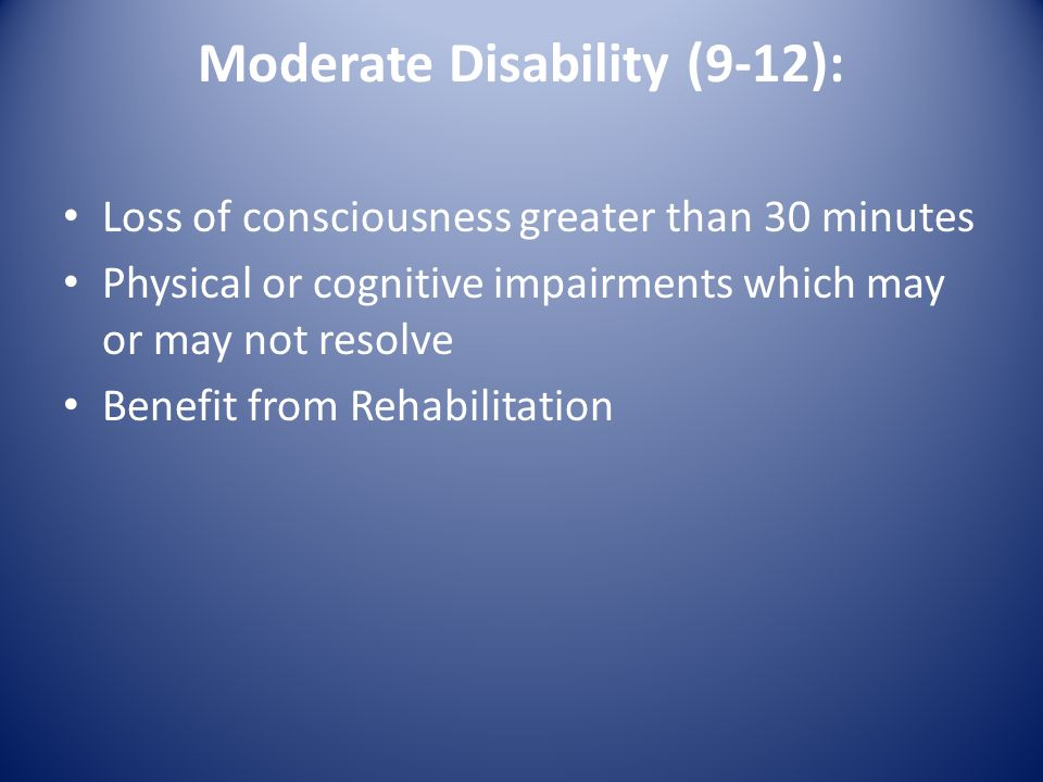 Moderate Disability (9-12):