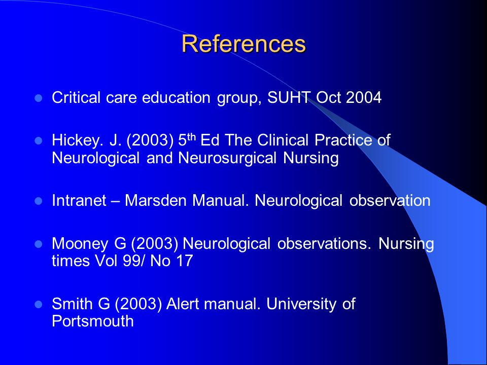 References Critical care education group, SUHT Oct 2004