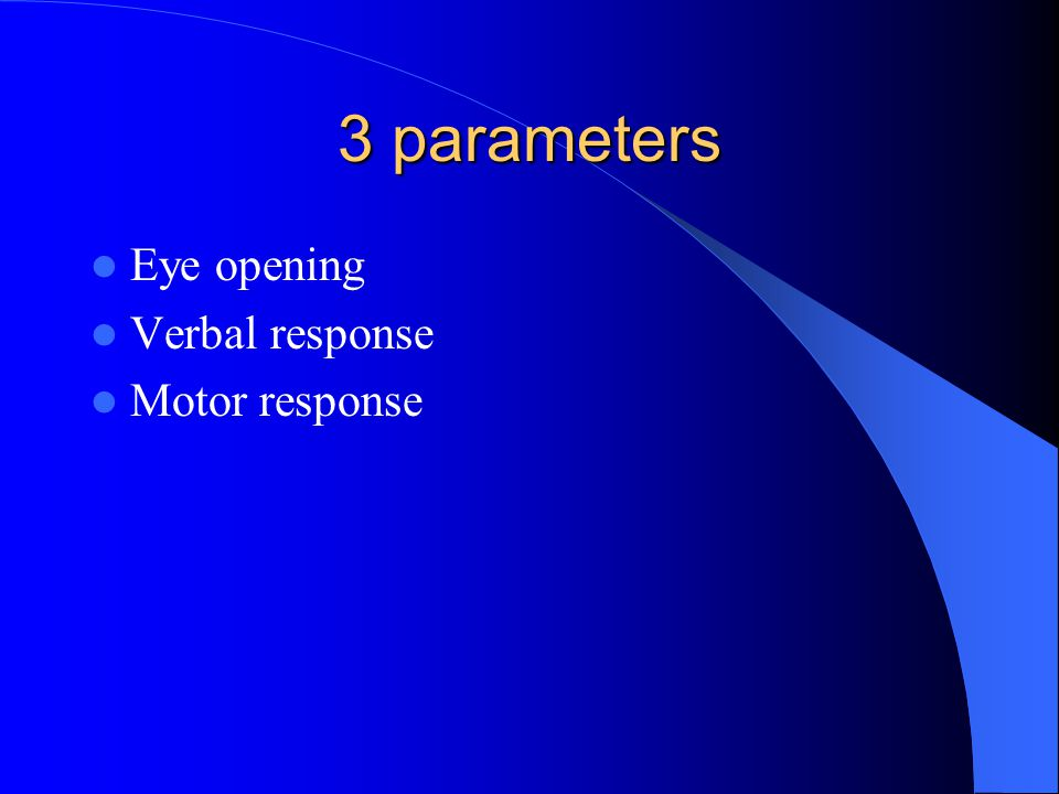 3 parameters Eye opening Verbal response Motor response