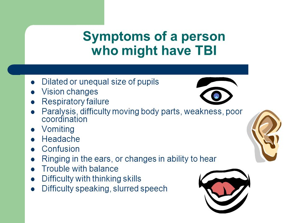 Symptoms of a person who might have TBI
