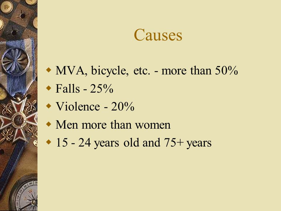 Causes MVA, bicycle, etc. - more than 50% Falls - 25% Violence - 20%