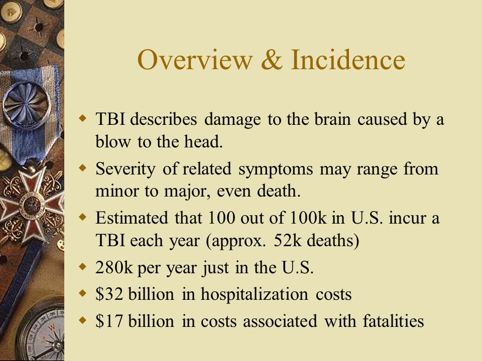 Overview & Incidence TBI describes damage to the brain caused by a blow to the head.