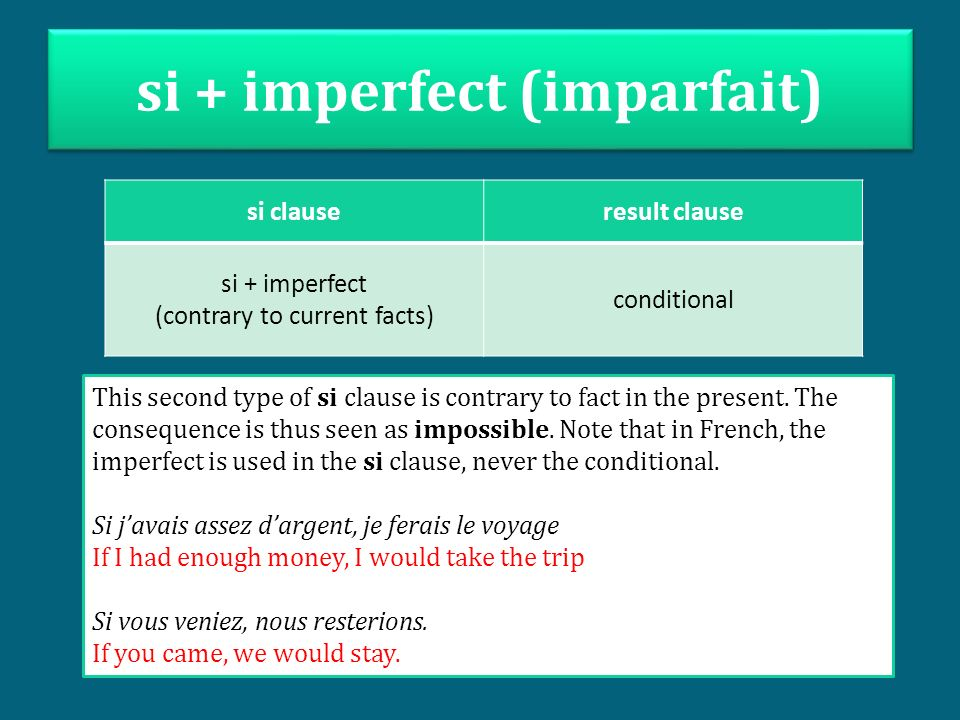 si + imperfect (imparfait)