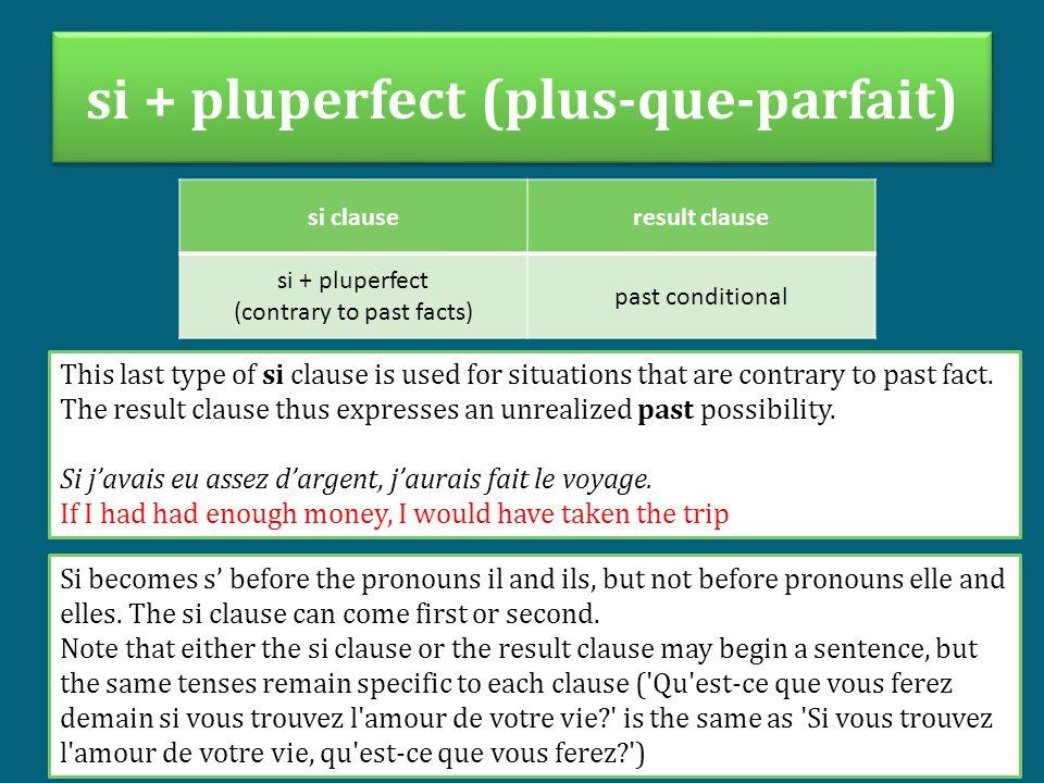 si + pluperfect (plus-que-parfait)