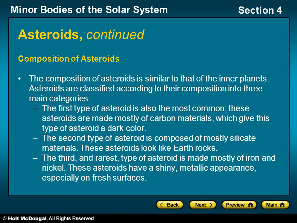 Asteroids, continued Composition of Asteroids
