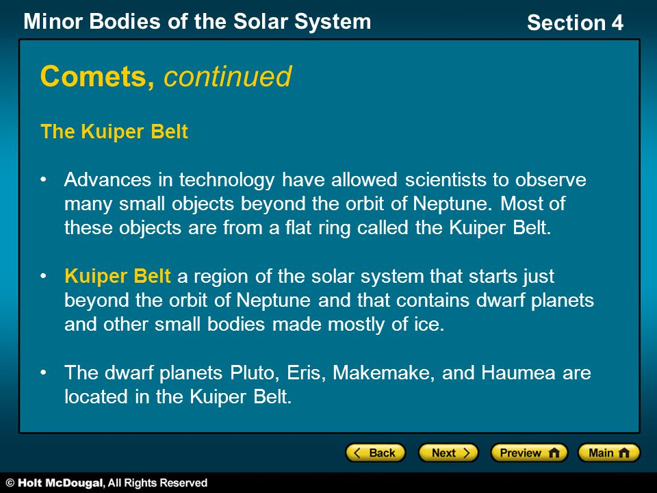 Comets, continued The Kuiper Belt