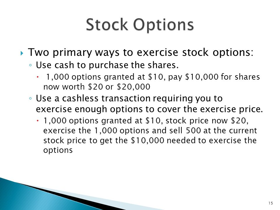 What does it mean exercise stock options