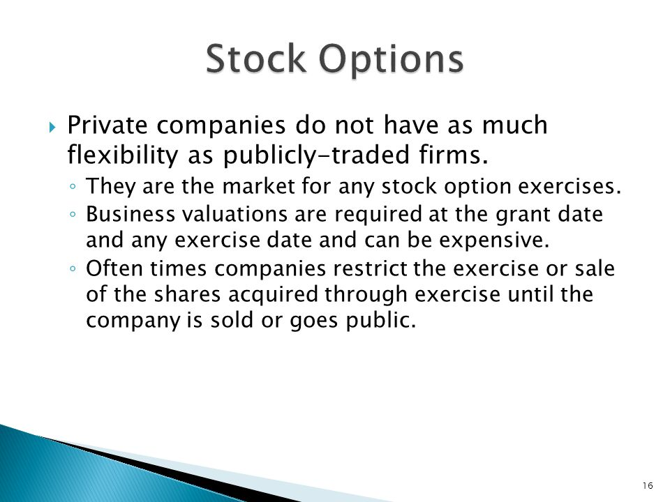 Stock options in private limited company