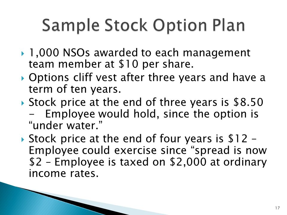Cliff in stock options