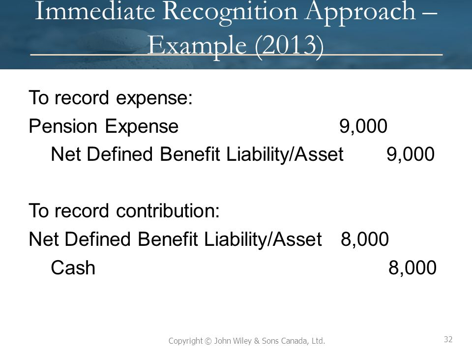Immediate Recognition Approach – Example (2013)