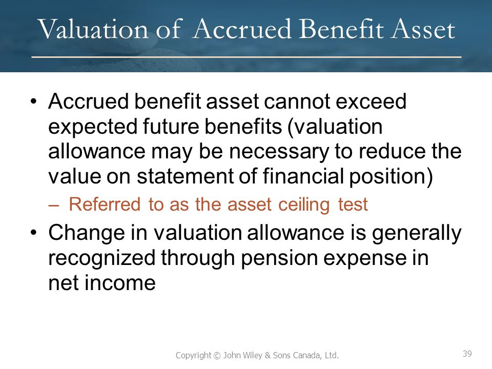 Valuation of Accrued Benefit Asset