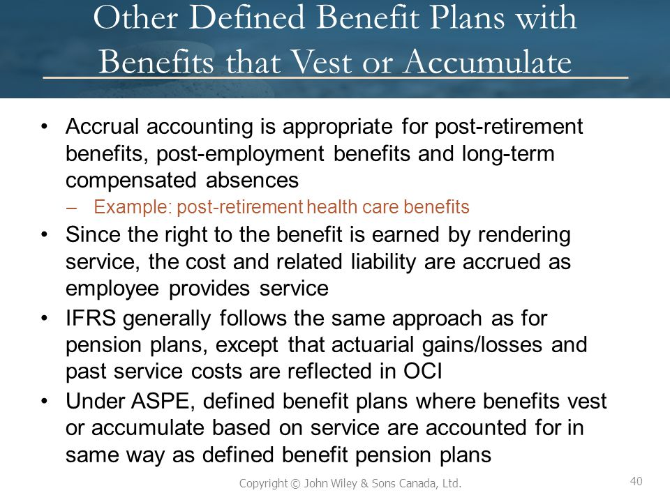 Other Defined Benefit Plans with Benefits that Vest or Accumulate