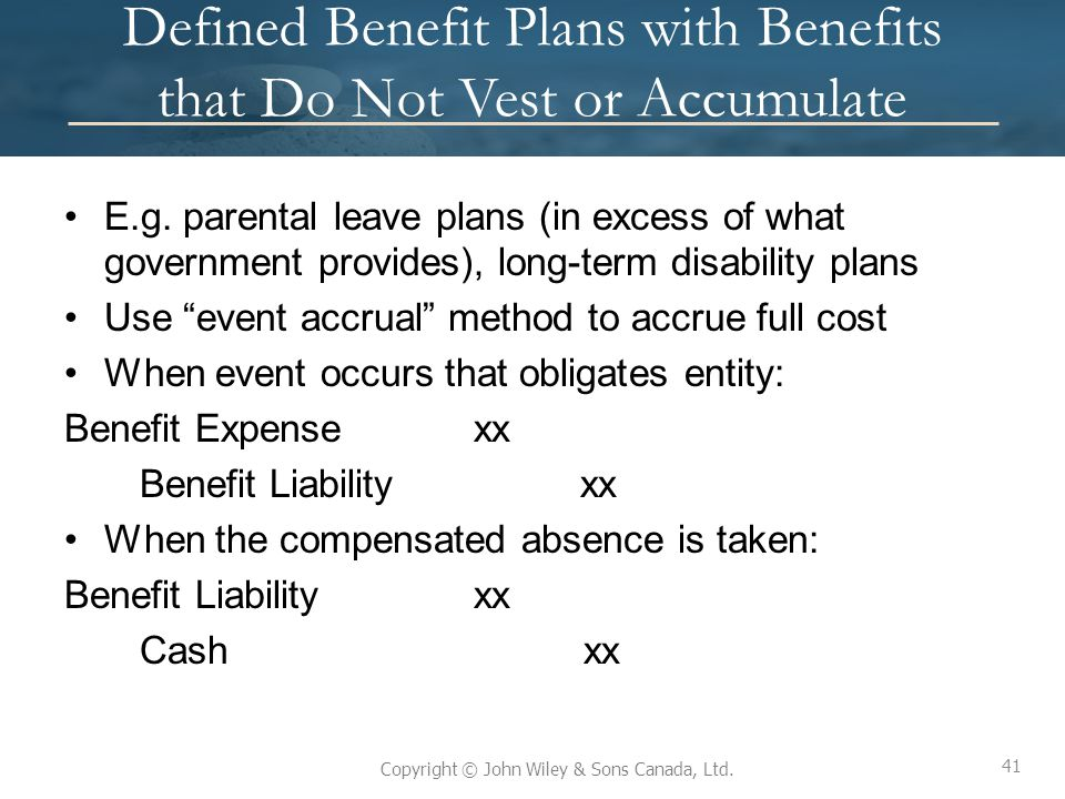 Defined Benefit Plans with Benefits that Do Not Vest or Accumulate