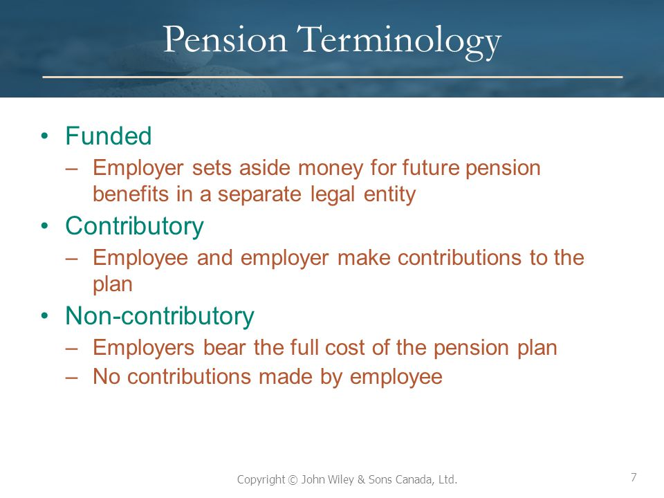 Pension Terminology Funded Contributory Non-contributory
