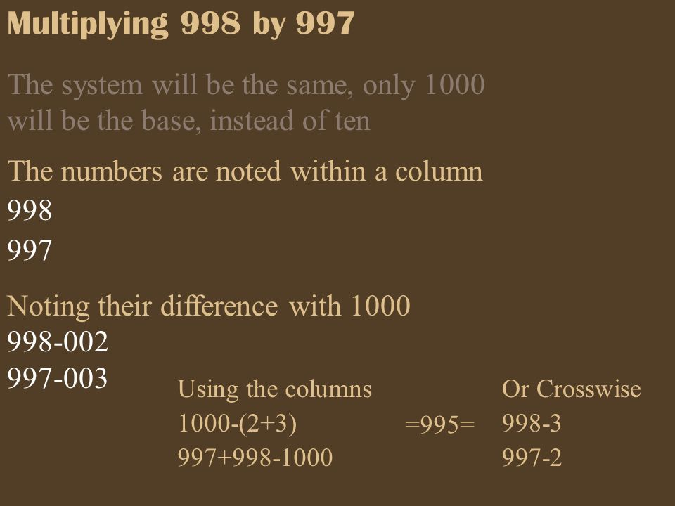 Multiplying 998 by 997 The system will be the same, only 1000