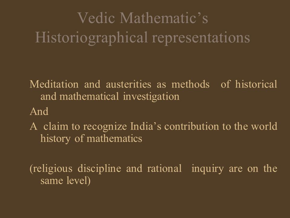 Vedic Mathematic's Historiographical representations