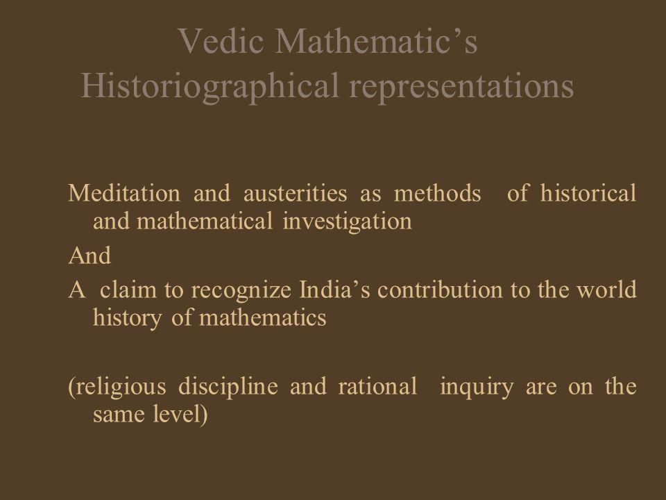 Vedic Mathematic's Historiographical representations