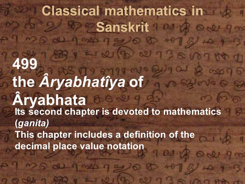 Classical mathematics in Sanskrit