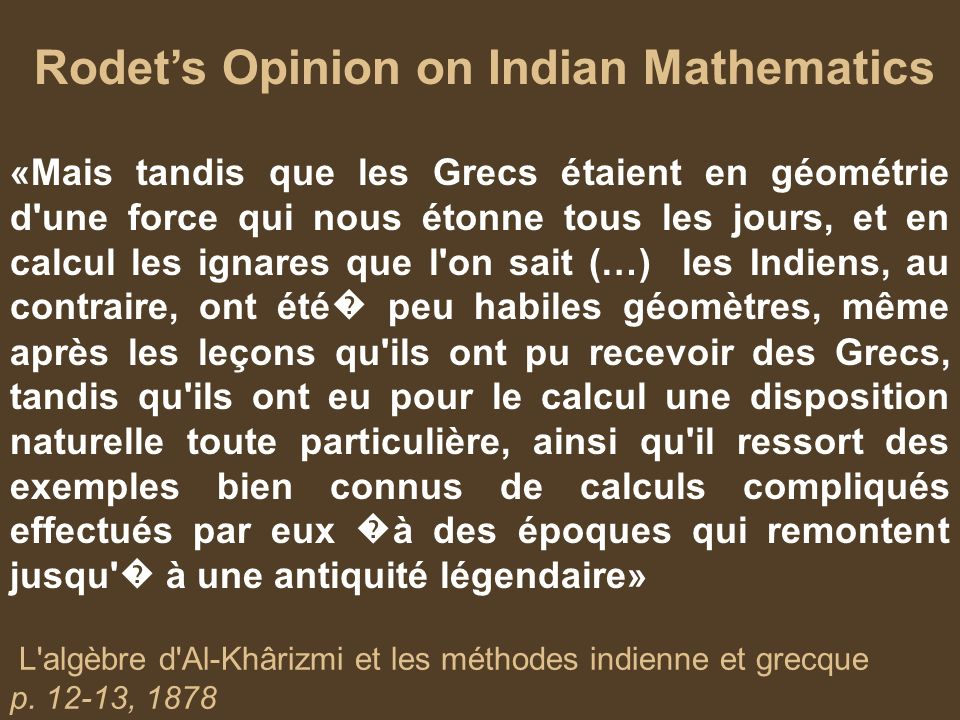 Rodet's Opinion on Indian Mathematics