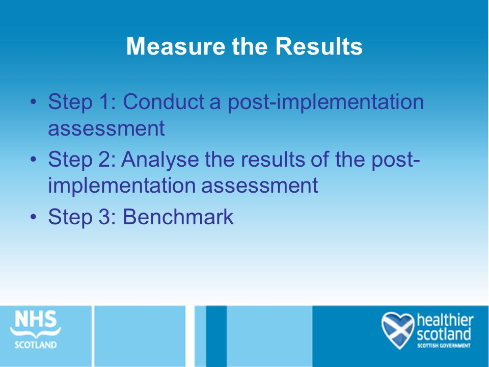 Measure the Results Step 1: Conduct a post-implementation assessment