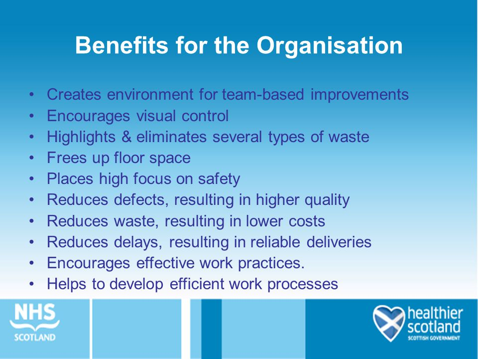 Benefits for the Organisation