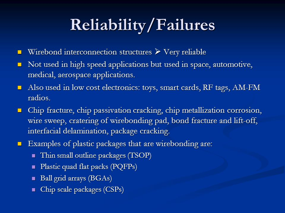 Reliability/Failures