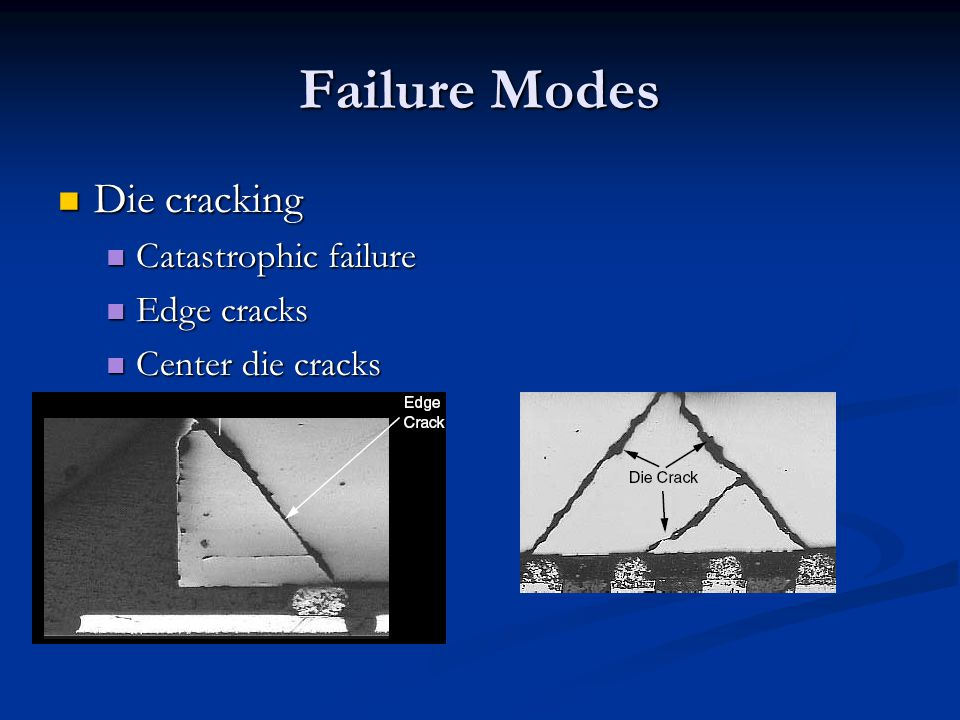Failure Modes Die cracking Catastrophic failure Edge cracks