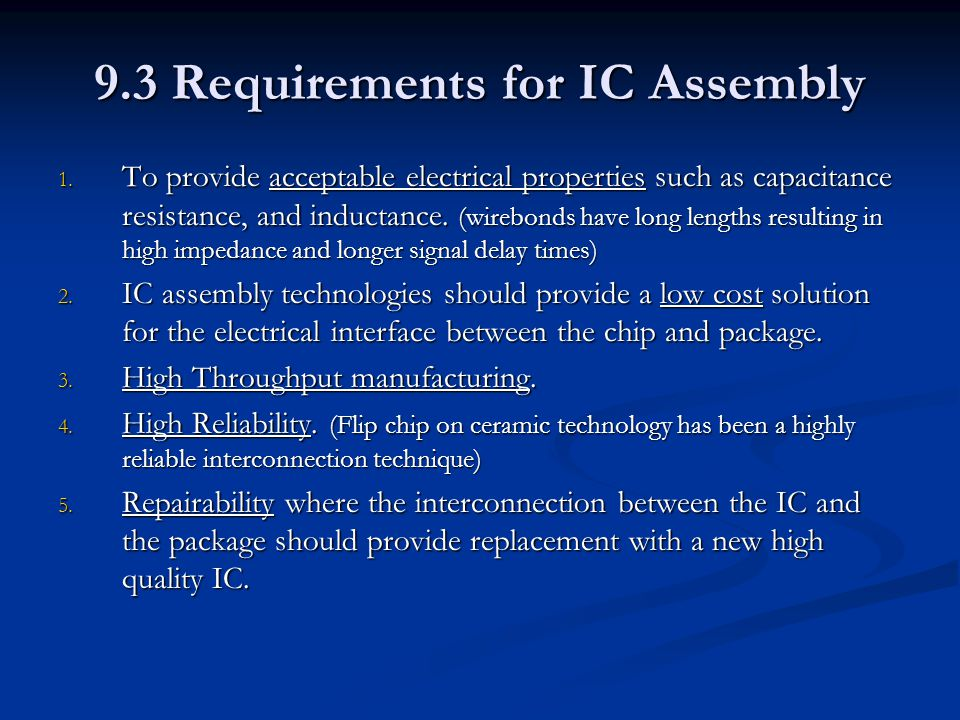 9.3 Requirements for IC Assembly
