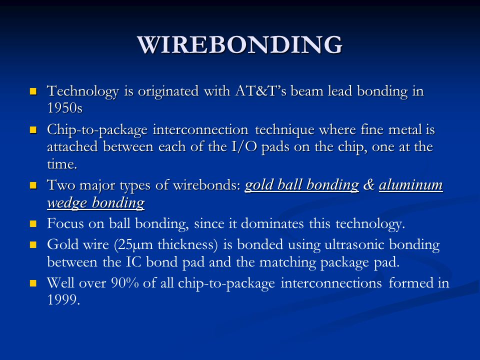 WIREBONDING Technology is originated with AT&T's beam lead bonding in 1950s.