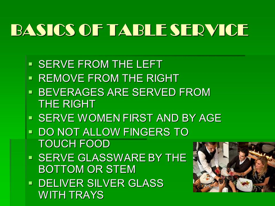 BASICS OF TABLE SERVICE