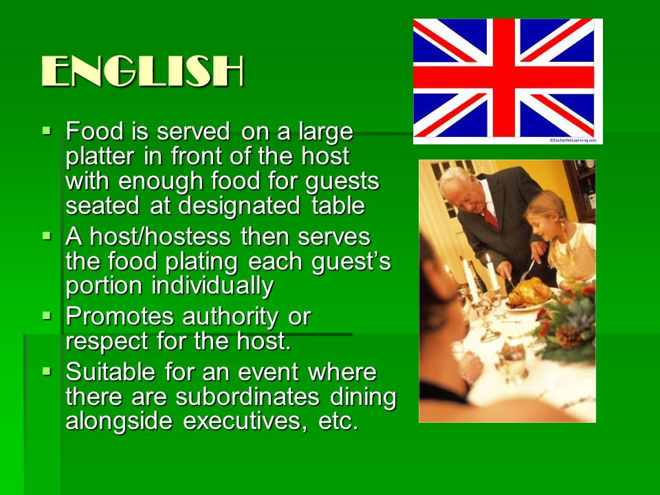 ENGLISH Food is served on a large platter in front of the host with enough food for guests seated at designated table.