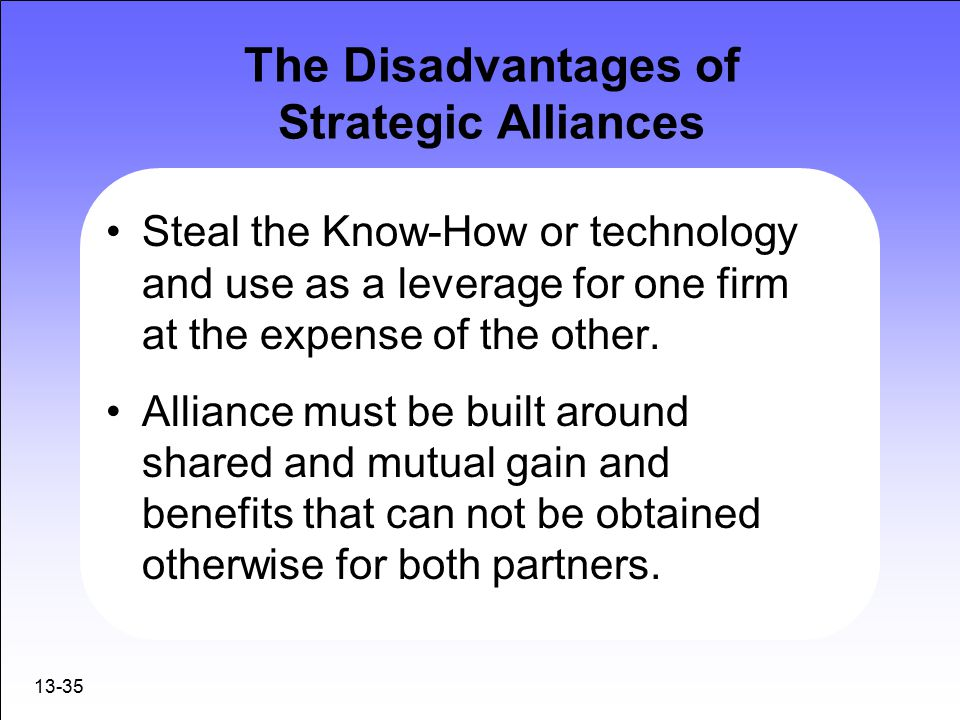 Advantages and disadvantages of strategic alliances