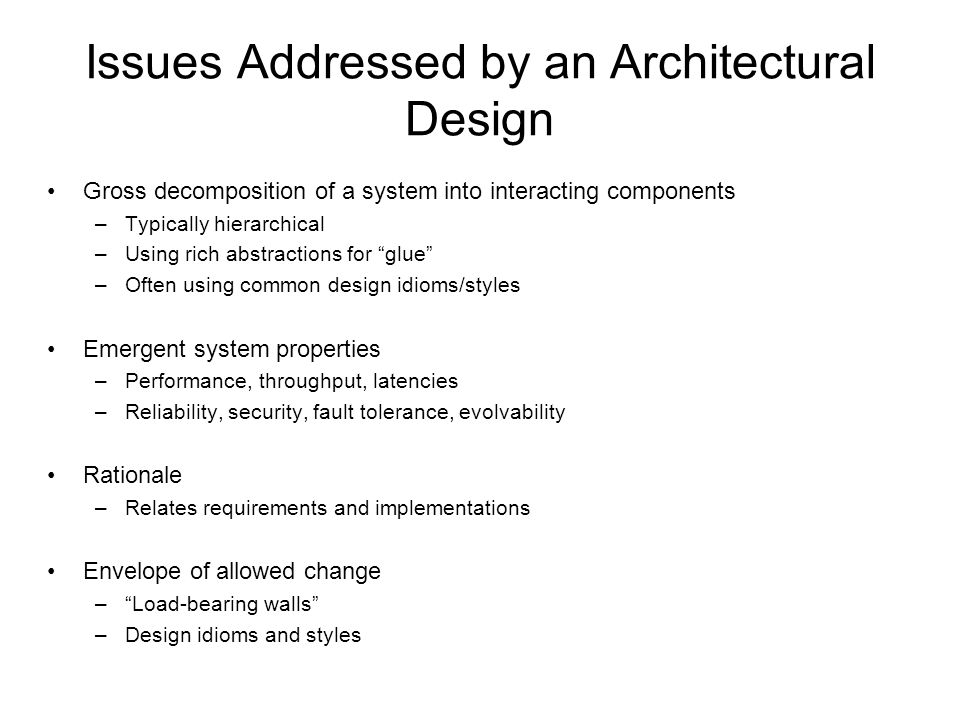 Ece 355 software engineering ppt download for Architectural design problems