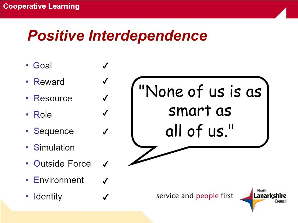 cooperative learning for positive interdependence Get information on cooperative learning, an instructional strategy in which small groups of students work together on a common task this teaching method is an excellent way to allow students to think critically without relying on you for answers.