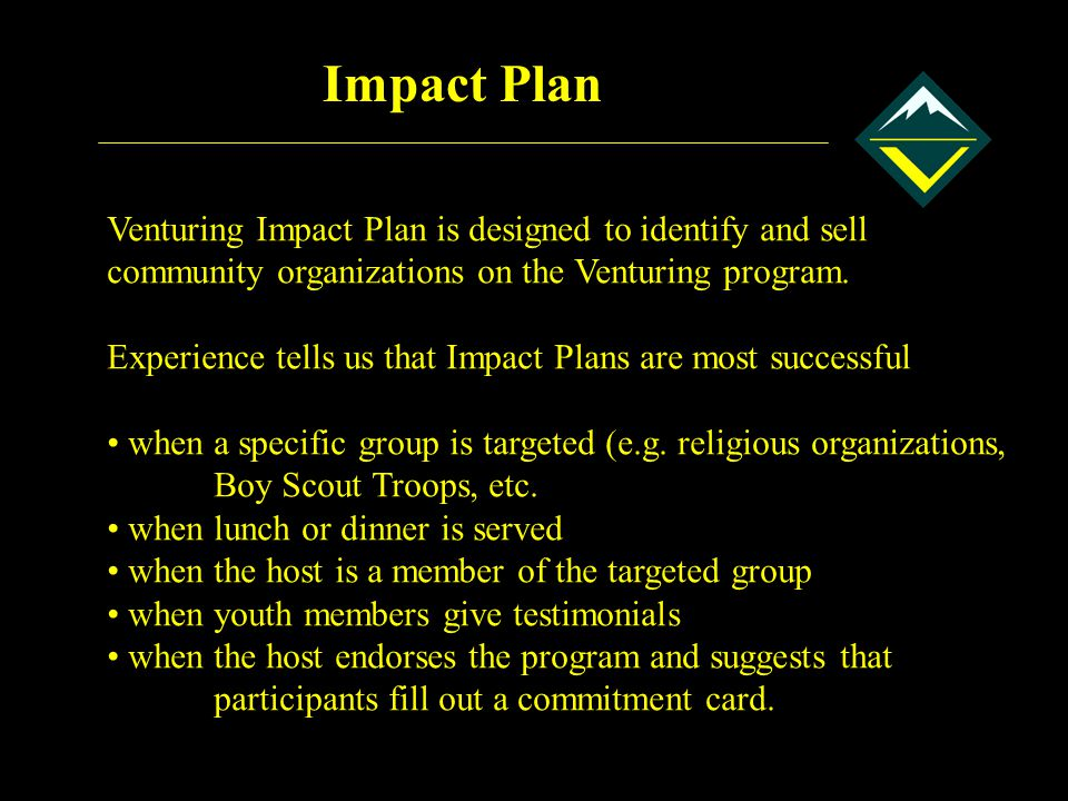 Impact Plan Venturing Impact Plan is designed to identify and sell community organizations on the Venturing program.