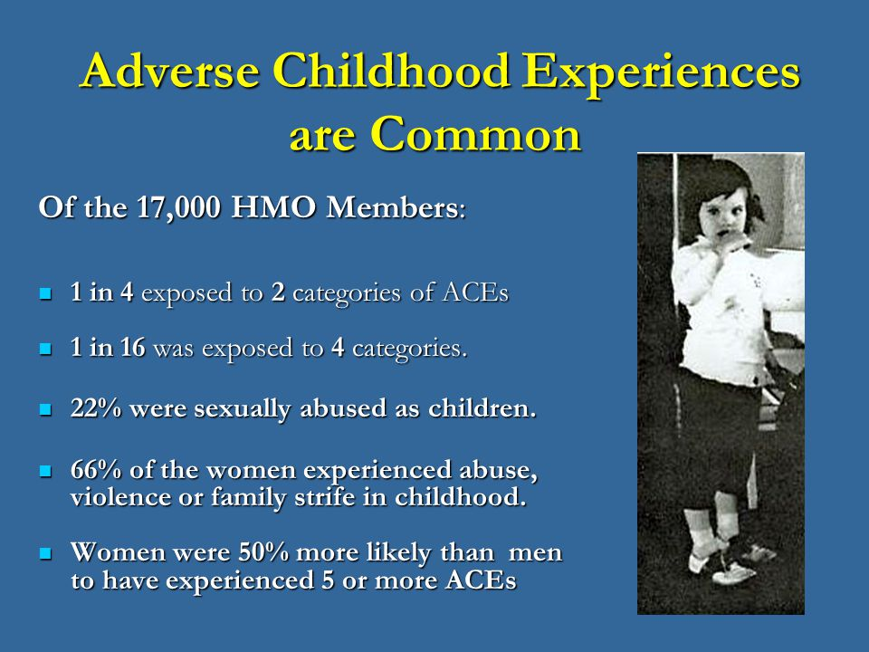 childhood experiences Individuals' childhood experiences can strongly influence their future health and well-being adverse childhood experiences (aces) such as abuse and dysfunctional home environments show strong cumulative relationships with physical and mental illness yet less is known about their effects on mental well-being in the general population.