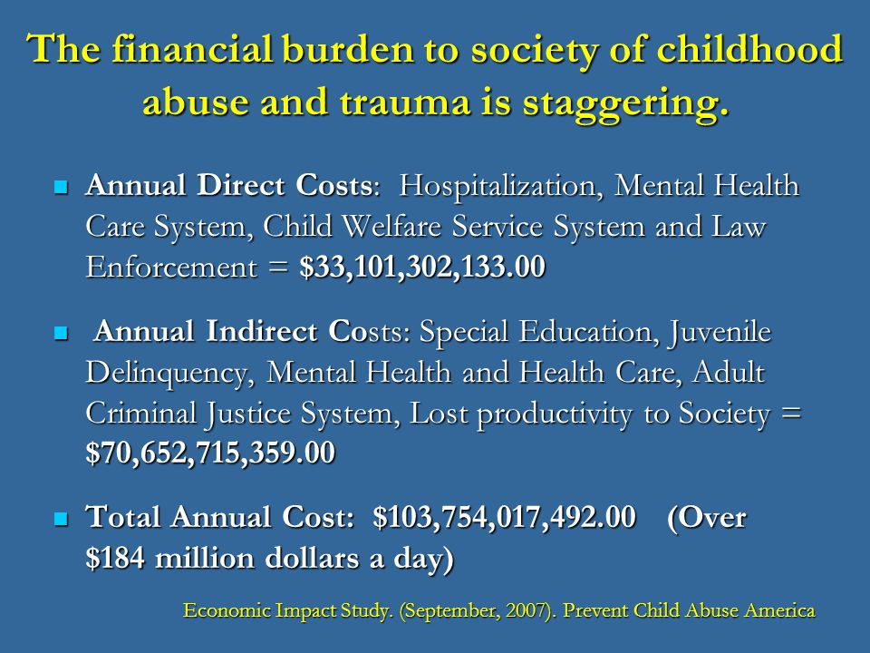 repercussions of childhood trauma People with childhood trauma may have deep (and valid)  childhood trauma can have lifelong repercussions these can be minor to severe,.
