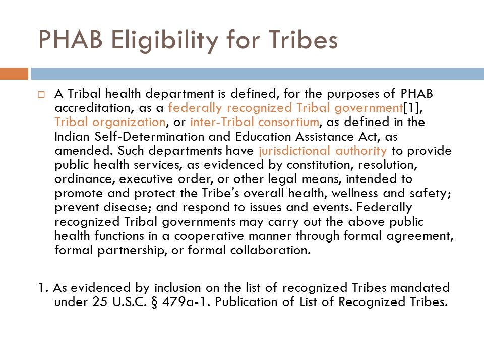 PHAB Eligibility for Tribes