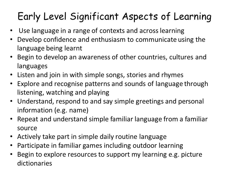Early Level Significant Aspects of Learning