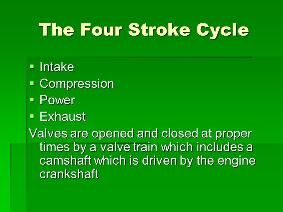 The Four Stroke Cycle Intake Compression Power Exhaust