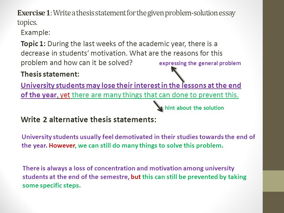 thesis statements for problem solution research essays Library research guides the following article helps to learn more about  problem solution essay writing need professional writing help you have a  problem.