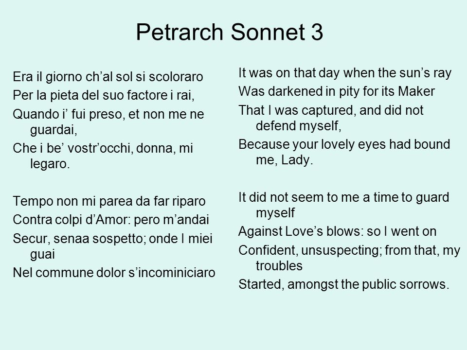 Petrarch Sonnet 3 It Was On That Day When The Sun S Ray