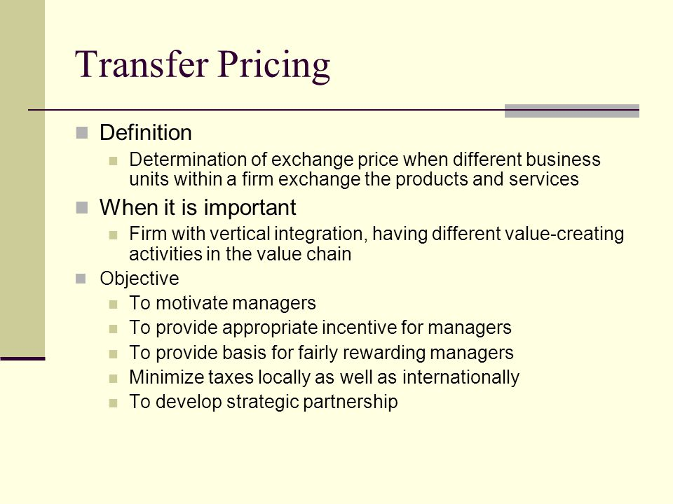 the importance of transfer pricing Abstract this article is structured as follows the introduction provides a brief  explanation of transfer pricing and its significance to practitioners and  researchers.
