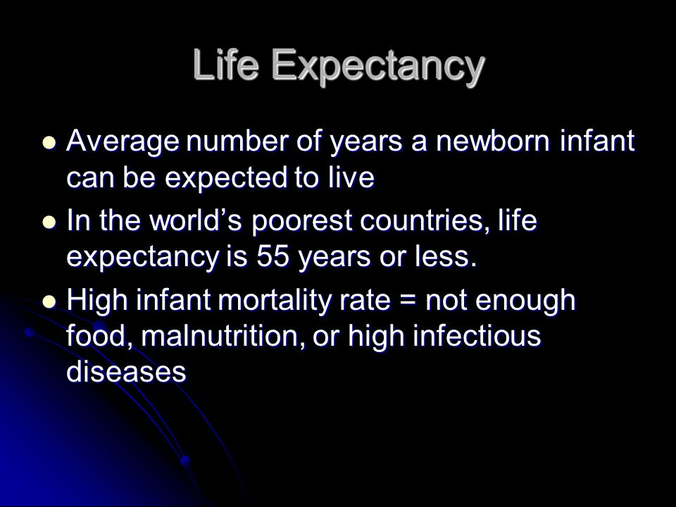 Life Expectancy Average number of years a newborn infant can be expected to live.